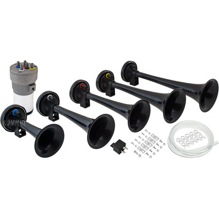 Vixen Horns LOUD 125dB 5/Five Trumpet Dixie Musical/Music Sound Air Horn with Compressor Full Complete System/Kit Black 12V - Horn Kit Air 2 Trumpet