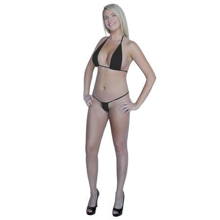 Flirtzy Teeny Micro Mini Thong and String Top Bikini Brazilian Swimwear Mini Bikini Swimsuit (Micro Thong Bikini)