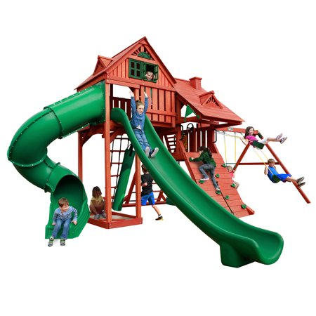 Gorilla Playsets Sun Palace Deluxe Wooden Swing Set with 2 Slides, Punching Bag, and Tire - Deluxe Swing Seat