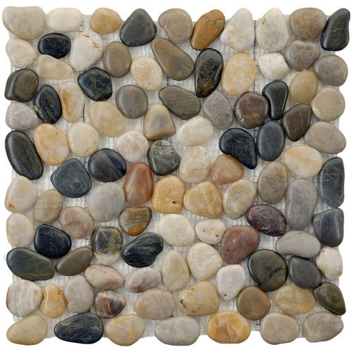 EliteTile Brook Stone 12'' x 12'' Polished Natural Stone Mosaic in Multicolored