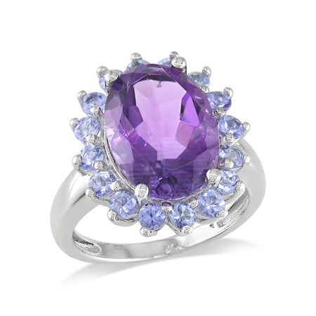 5-7/8 Carat T.G.W. Oval Amethyst and Tanzanite Cocktail Ring in Sterling Silver