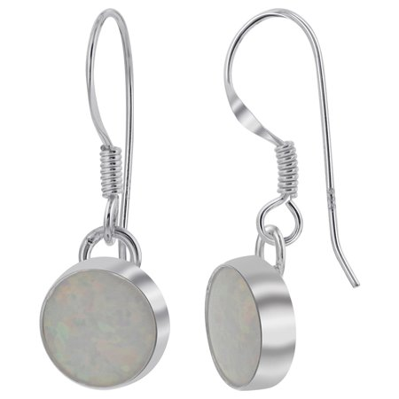 Gem Avenue 925 Sterling Silver Created White Opal 8mm Round Drop Earrings with French Wire Hook