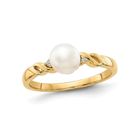 14K Yellow Gold 6mm Freshwater Cultured White Pearl Ring with Accent (Gold Diamond Accent Pearl)