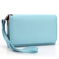 Blue Cell Phone Wallet Wristlet ( Medium)