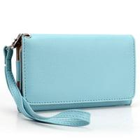 Blue Cell Phone Wallet Wristlet ( Medium)