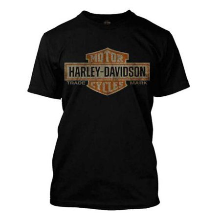 Men's Distressed Elongated Bar & Shield Black T-Shirt 30296553, Harley Davidson (Black Diamond Harley Davidson Halloween)