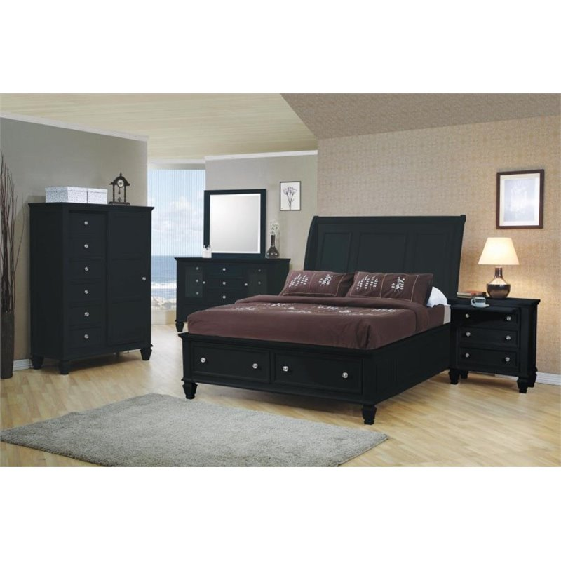 Coaster Furniture 5 Piece King Sleigh Bedroom Set in Black