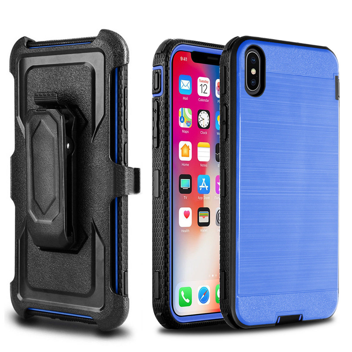 iPhone X XS Case, Mignova Belt Swivel Clip Full Body Protective Rugged Plastic Heavy Duty Armor Holster Defender Hybrid Case Cover with Kickstand for Apple iPhone X XS  (Black)