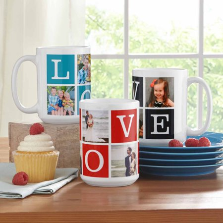 Personalized Love Photo Collage 15 oz Coffee Mug-Available in 3 Colors (Personalized Caps)