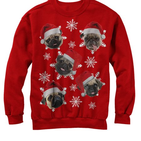 mens ugly christmas sweater pug snowflakes sweatshirt
