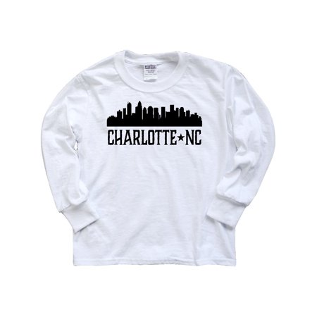 Charlotte North Carolina Skyline NC City Youth Long Sleeve T-Shirt