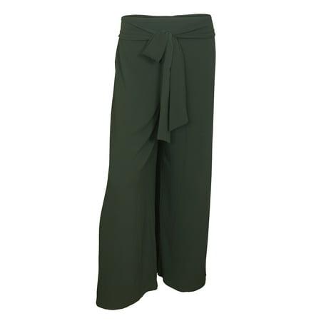 eVogues Plus size Chiffon Long Gaucho Chiffon Pants Olive