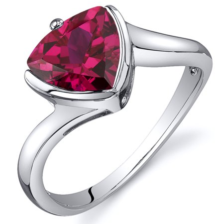 - 2.50 Ct Trillion Cut Created Ruby Ring in Rhodium-Plated Sterling Silver