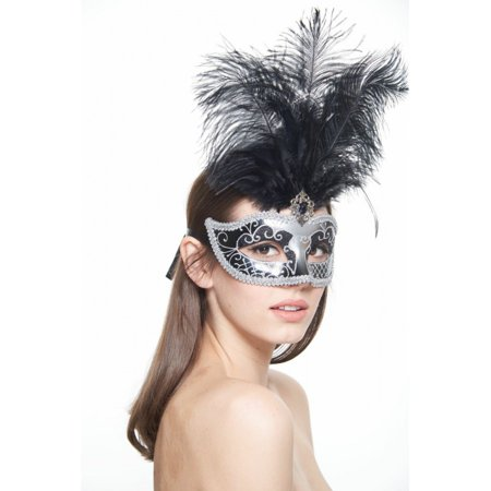 KAYSO INC FM011BKSL BLACK AND SILVER CARNIVAL VENETIAN MASQUERADE MASK WITH BLACK - Masquerade Mask With Feathers