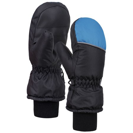 Cuffed Mittens - ANDORRA Boys Color Block Weather-Proof Thinsulate Snow Mittens, Long Snow Cuff,M,BlackBlue