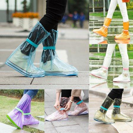 Girl12Queen Unisex Portable Outdoors Travel Anti Slip Rain Shoes Covers Waterproof - Halloween Boots Purple