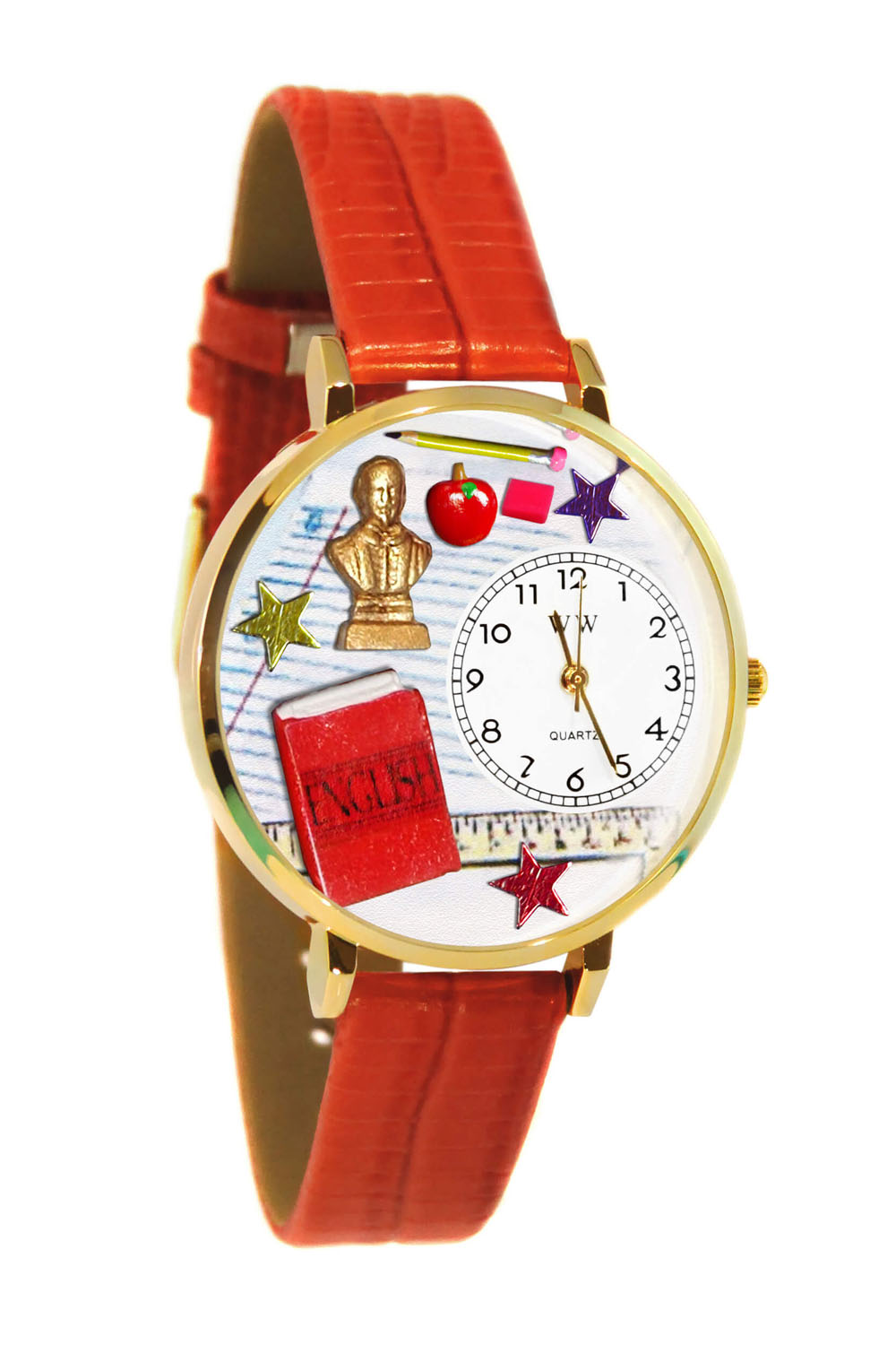 Whimsical English Teacher Red Leather And Goldtone Watch