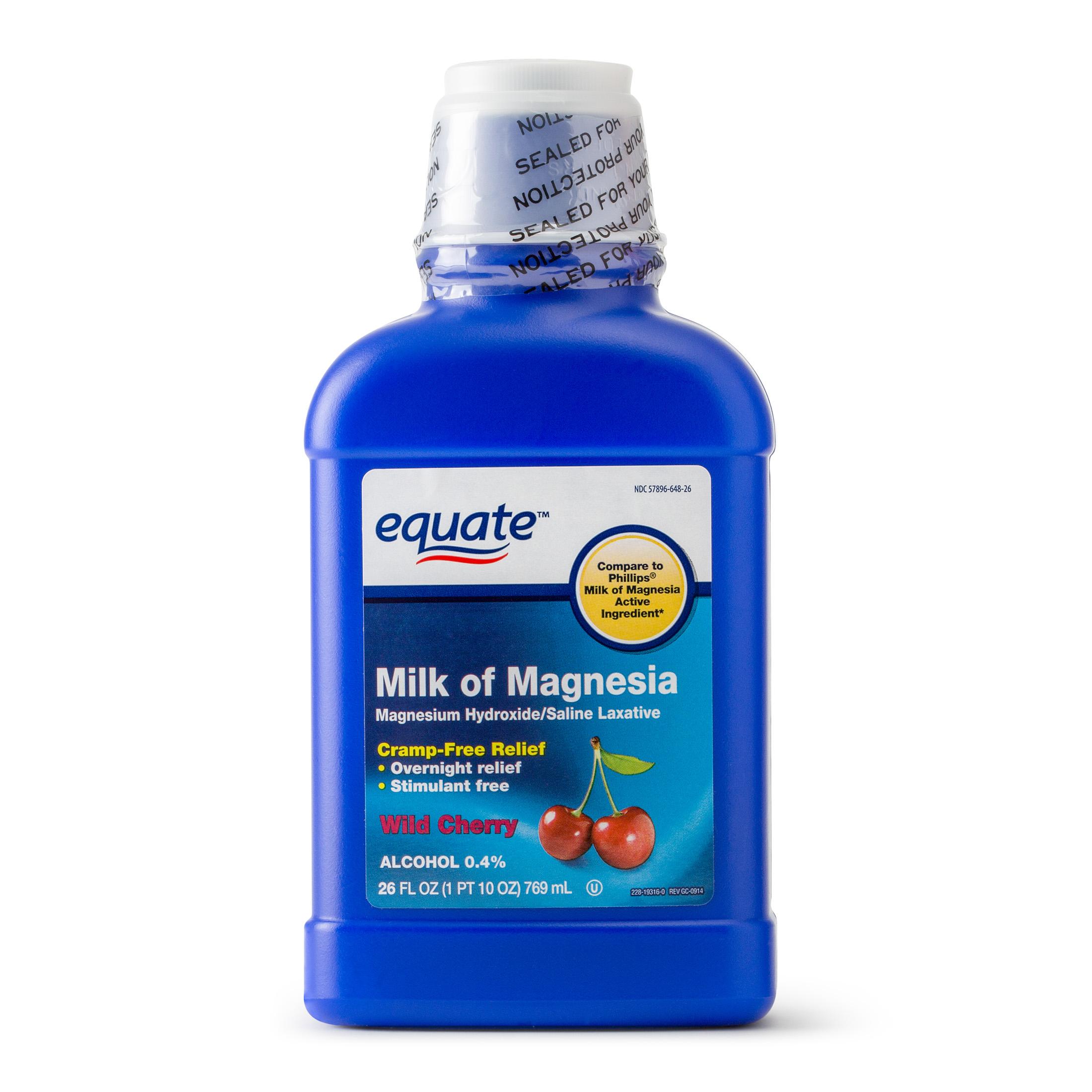 Equate Milk Of Magnesia Saline Laxative Wild Cherry Flavor, 1200 mg, 26 Oz
