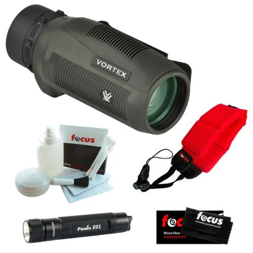 Vortex Optics S136 Solo 10x36 Monocular + Keychain LED Flashlight + Micro Fiber Cleaning Cloth + Cleaning and Care Kit + Floating Foam Strap Red