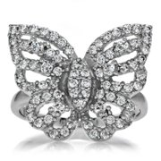 Celebrity Sterling Silver Pave-set Round-cut Cubic Zirconia Butterfly Ring Size 6