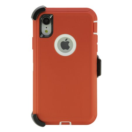 Garnet Red Case - WallSkiN Turtle Series Cases for iPhone XR (Only) Tough Protection with Kickstand & Holster - Belt Clip Works with Otterbox Defender Series Cases - Garnet (Red/White)
