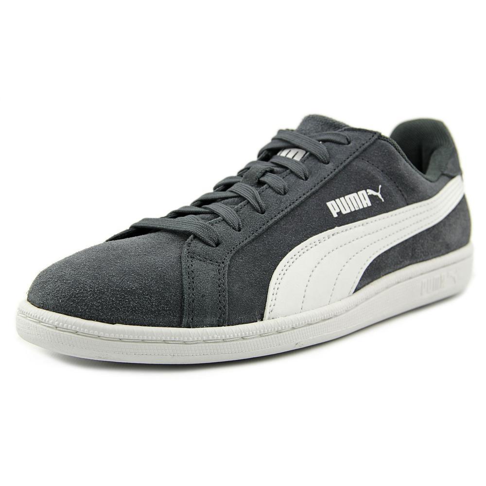 Puma Smash Suede Men  Round Toe Suede Gray Sneakers
