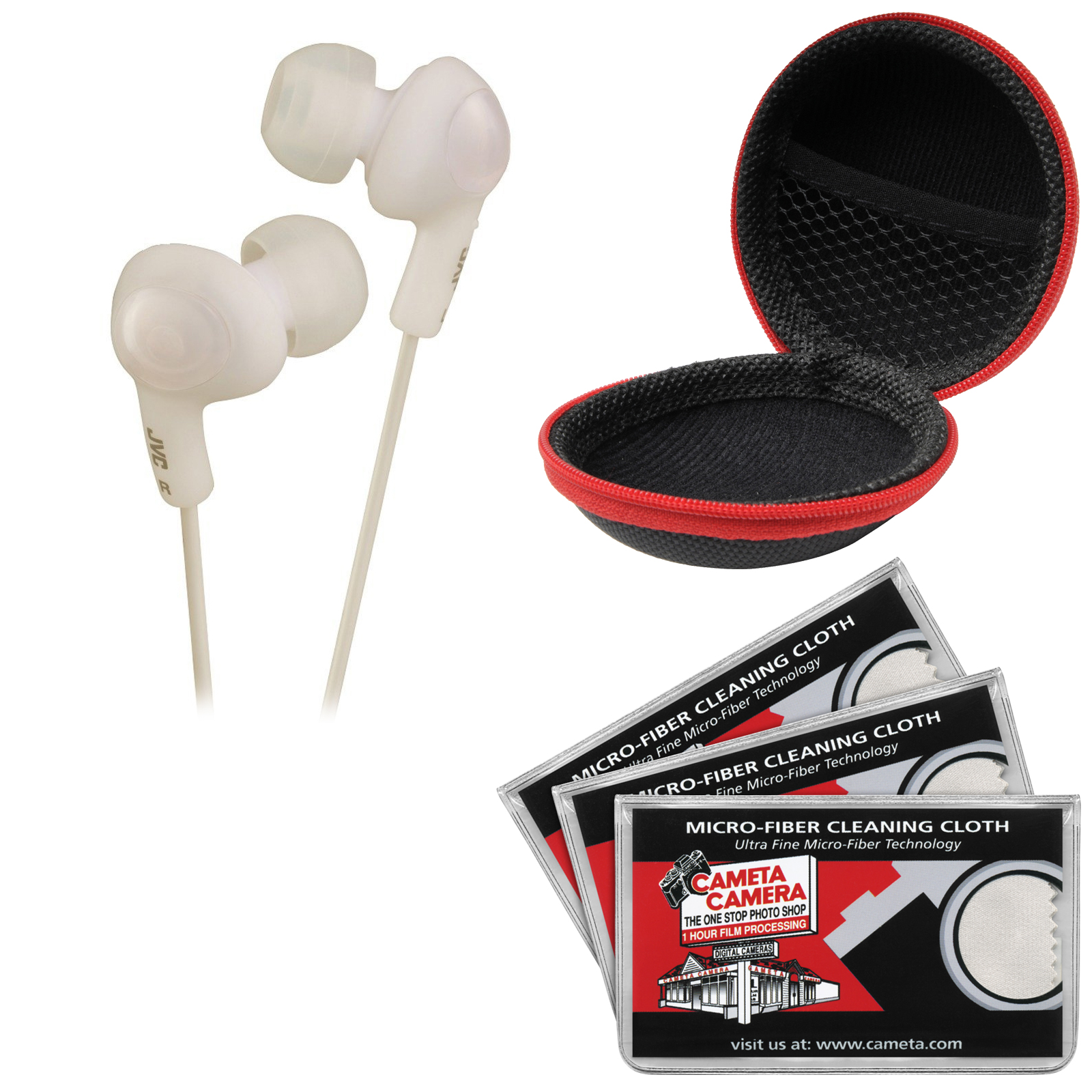 JVC HA-FX5 Gumy PLUS Headphones (White) with Case & 3 Microfiber Cloths