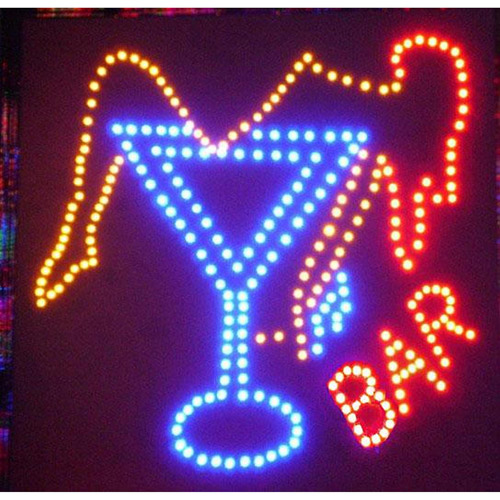 LED Frame with Martini Glass and Bar Sign