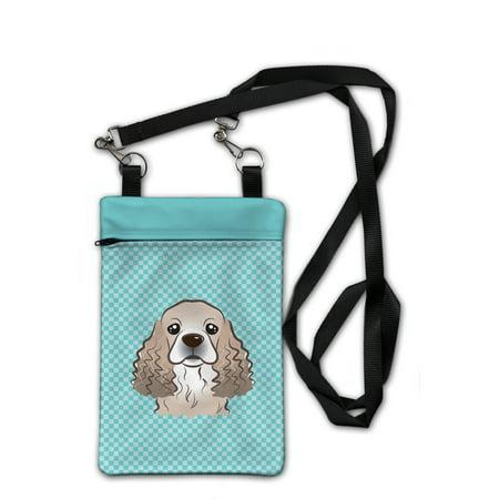 Checkerboard Blue Cocker Spaniel Crossbody Bag Purse BB1154OBDY
