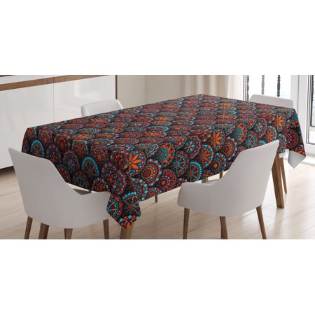 Moroccan Tablecloth, Circles Pattern Mandala Inspired Floral Arrangements Geometric Rectangles, Rectangular Table Cover for Dining Room Kitchen, 60 X 84 Inches, Aqua Orange Ruby, by Ambesonne ()