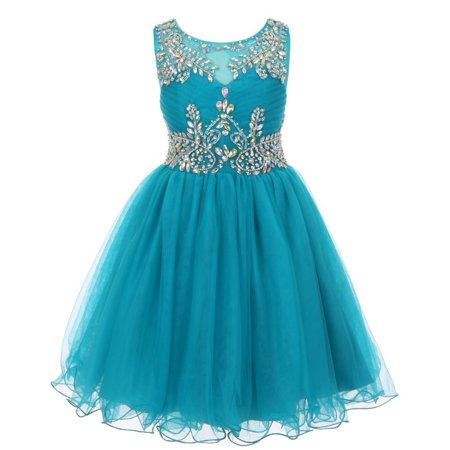 Flower Girl Dresses Teal (Girls Teal Tulle AB Stone Wired Flower Girl Dress)
