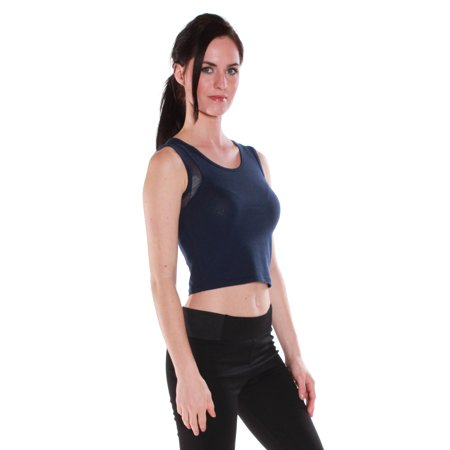 Color Story Women's Sexy Muscle Tank Crop Top with Sheer Sides - Junior Sizing