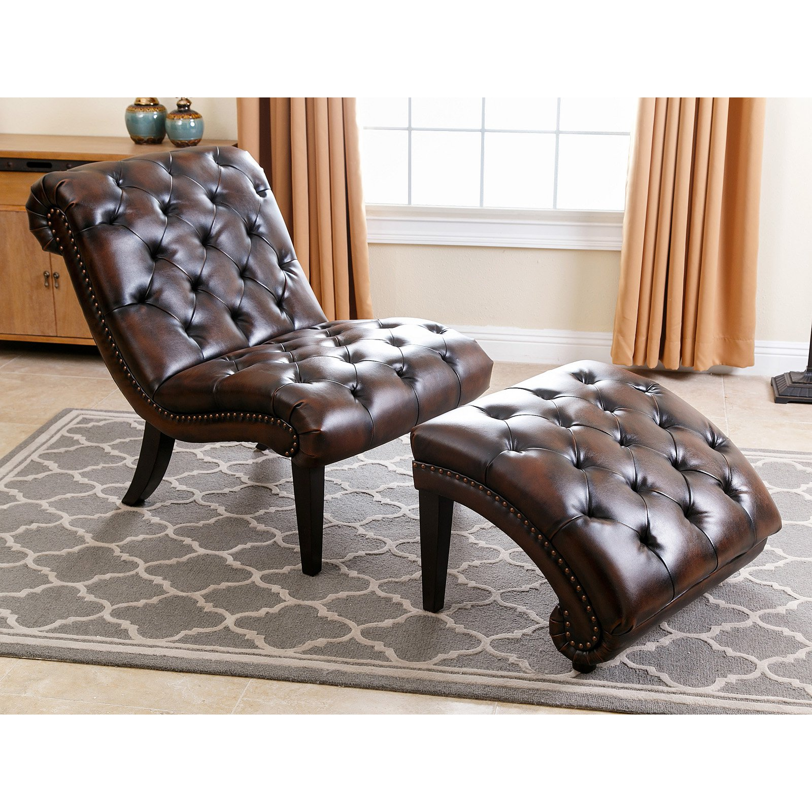 Abbyson Living Patrick Tufted Leather Chaise Lounge With Ottoman, Brown