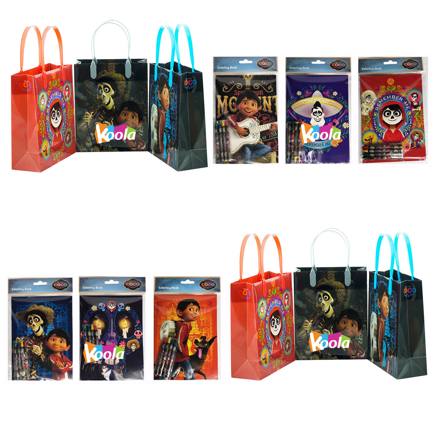 12pc coco Disney Pixar Birthday Party Supply Favor Gift Bags w/coloring book