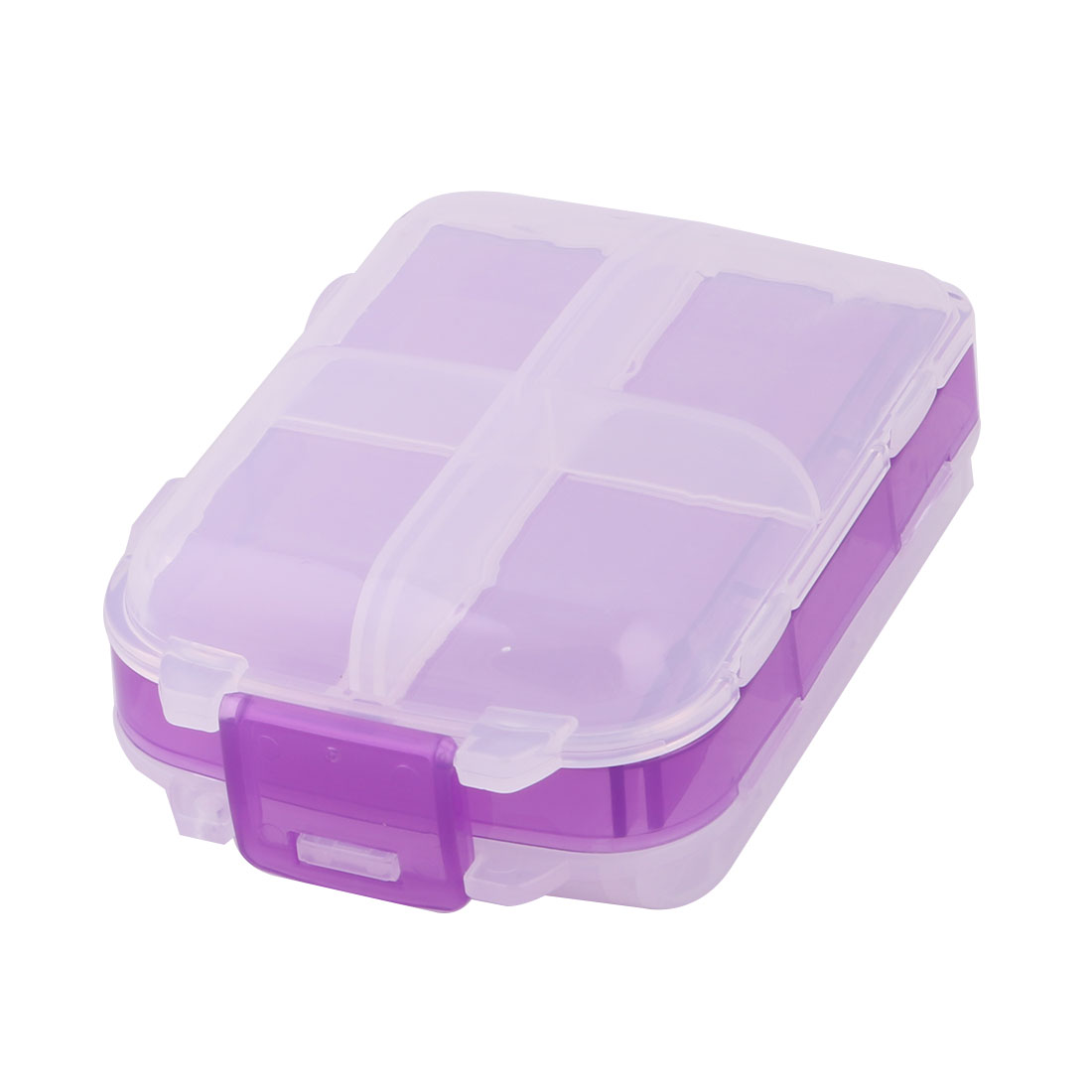 Traveling Camping 8 Compartments Capsule Pill Storage Box Container Purple Clear - image 5 of 5