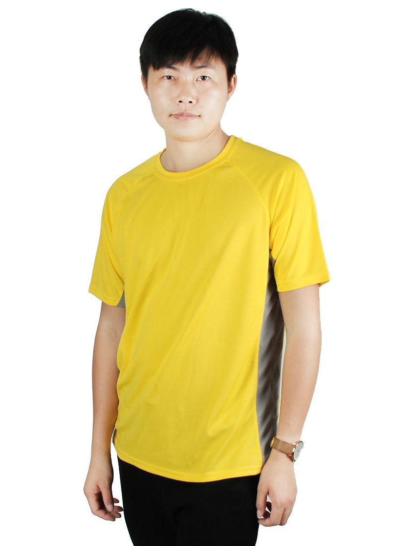 Exercise Advertisement Polyester Short Sleeve Sports T-shirt Yellow L/L (US 42)