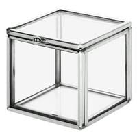Koyal Wholesale Silver Square Cube Glass Ring Box for Proposal, Engagement, Wedding Ceremony, Ring Bearer, Keepsake