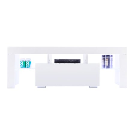- White TV Stand Modern LED TV Cabinet TV Console Furniture with 2 Glass Shelves 1 Drawer for Modern Living Room