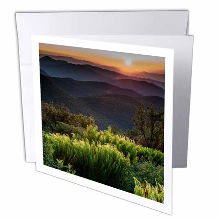 3Drose Sunrise At Tennant Mountain Area  Blue Ridge Parkway  North Carolina  Greeting Cards  6 X 6 Inches  Set Of 12