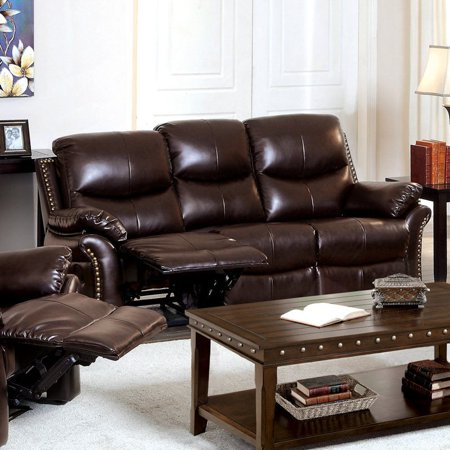 Furniture of America Norfolk Bonded Leather Sofa with Nailhead Trim ...