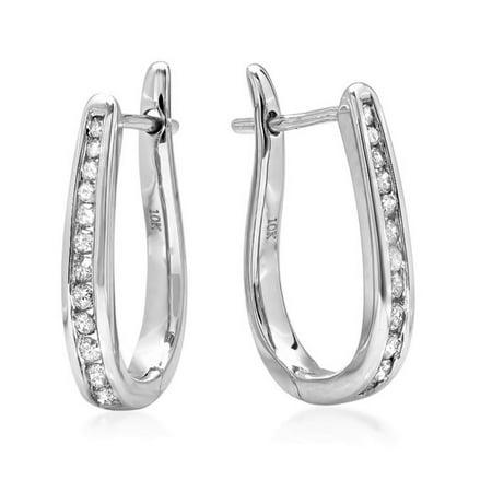 Image of 10K White Gold Flip Back Diamond Hoop Earrings ( 1/4ct tw)