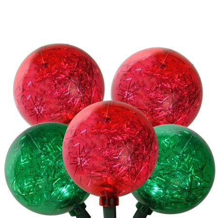 Tinsel Lead Design - Set of 10 Red and Green LED Ornament w/ Tinsel Christmas Lights 9.5