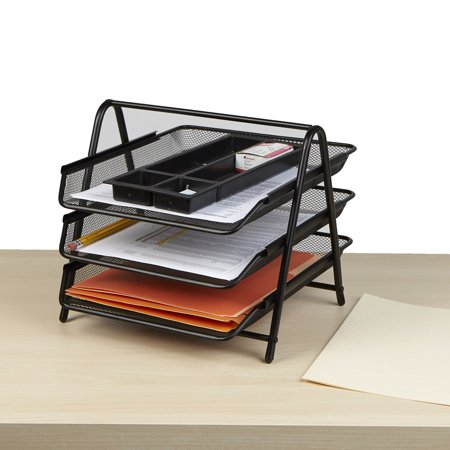 Mind Reader Desk Organizer with 3 Sliding Trays for Letters, Documents, Mail, Files, Paper, Black