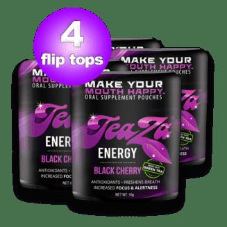 Energy Cherry - Teaza Black Cherry Herbal Energy Pouch Flip Top 4 Pack