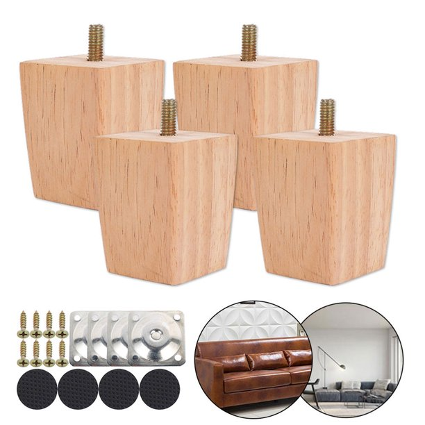 ODOMY Square Solid Replacement Furniture Feet Legs Wood Sofa Couch