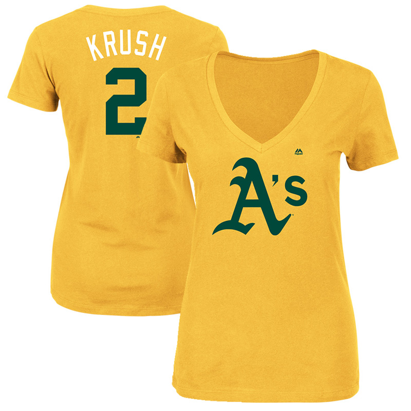 "Khris Davis ""Krush"" Oakland Athletics Majestic Women's 2017 Players Weekend Name & Number T-Shirt - Yellow"