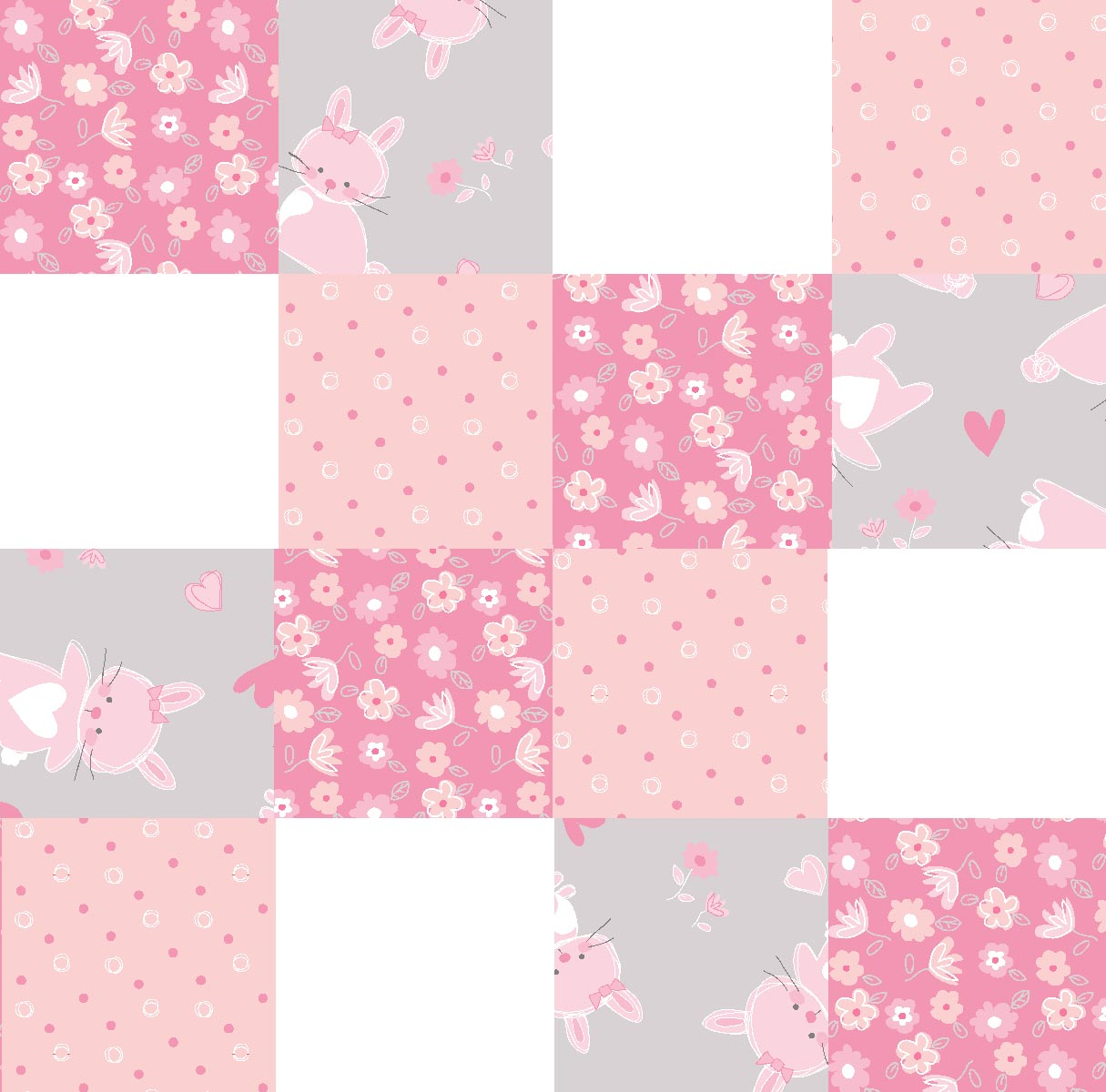Cute As A Bunny Patches 4x4 Multi Substrate Fabric by the Yard