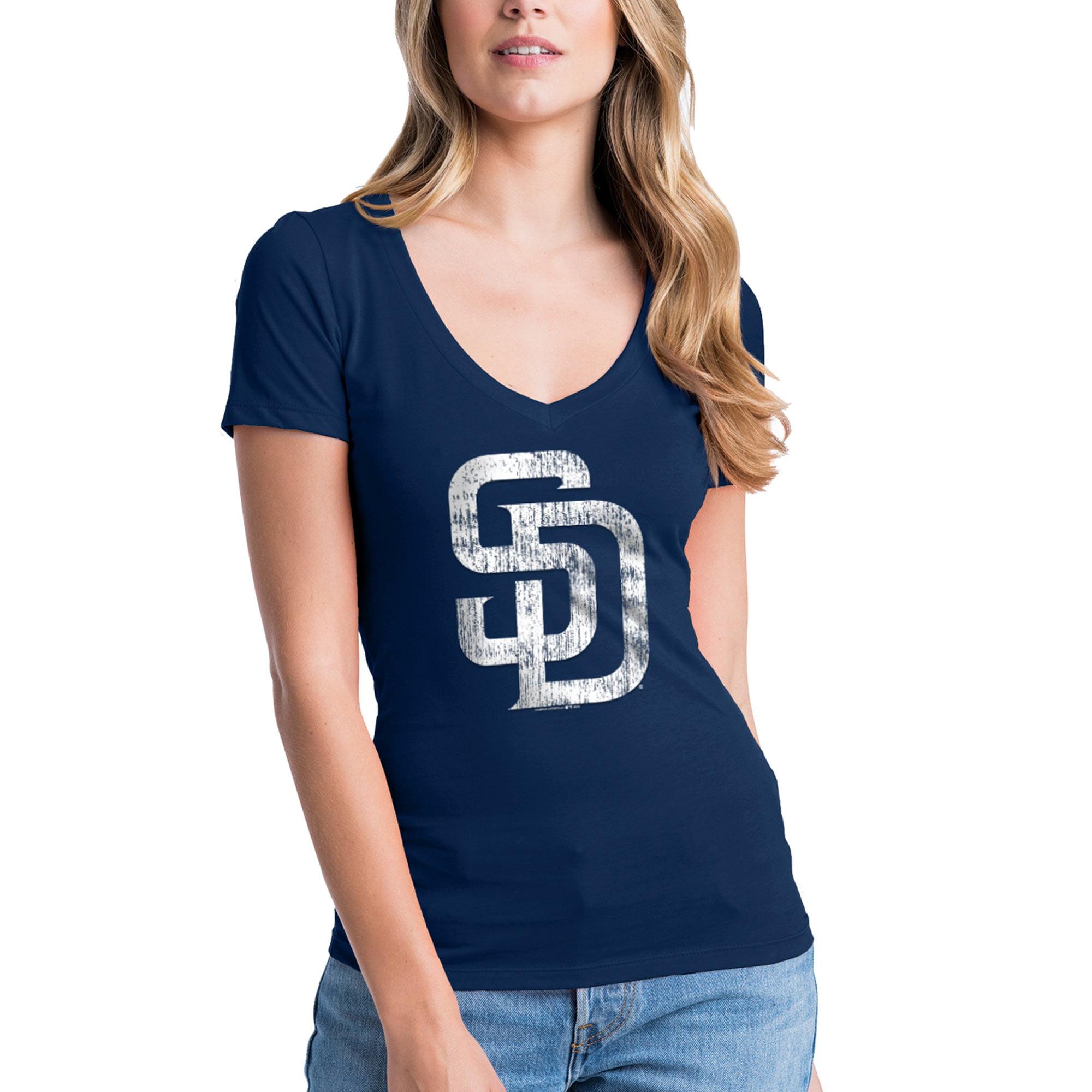 San Diego Padres New Era Women's V-Neck T-Shirt - Navy