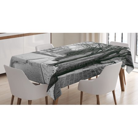 Black and White Decorations Tablecloth, Seine River Paris France Snowy Winter in Urban City Trees, Rectangular Table Cover for Dining Room Kitchen, 52 X 70 Inches, Black White Grey, by Ambesonne