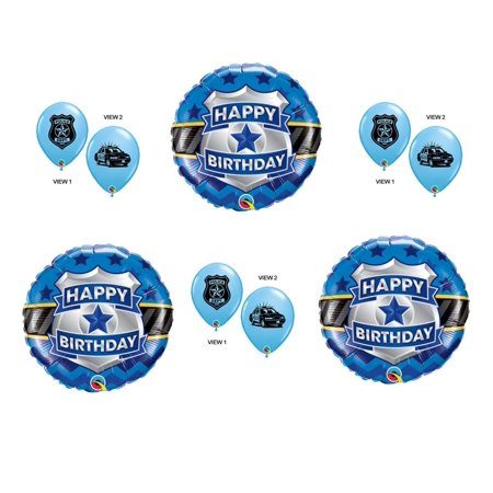 Police Badge 9 pc. Birthday Balloons Decoration Supplies Party Cops Law Patrol - Law Enforcement Party Supplies